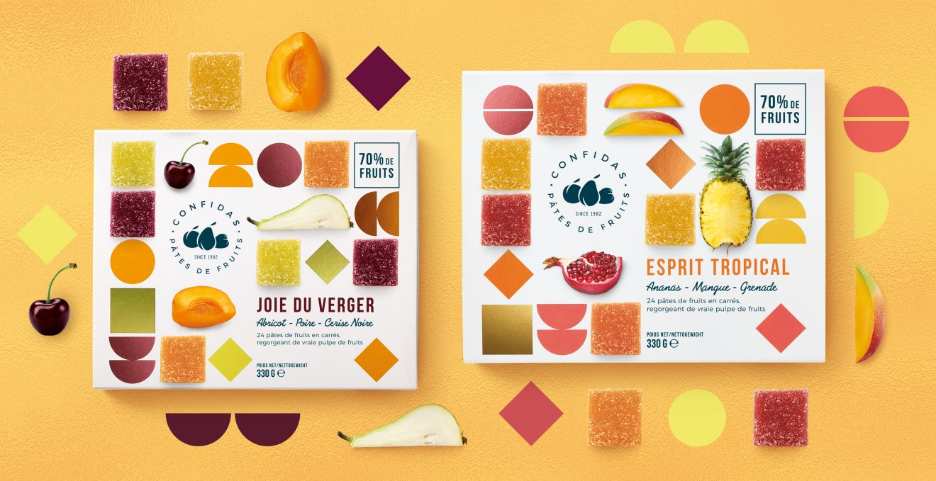 Quatre Mains package design - confides, fruitpralines, packaging