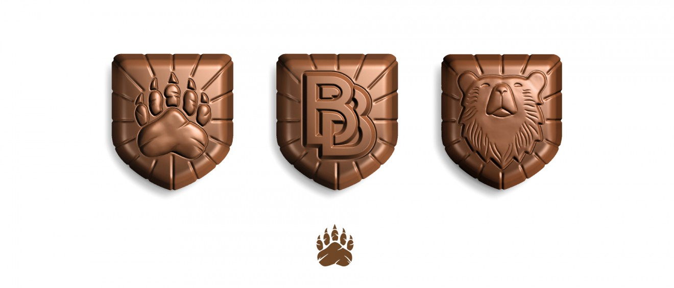 Quatre Mains package design - mould, shape, chocolate, paw print