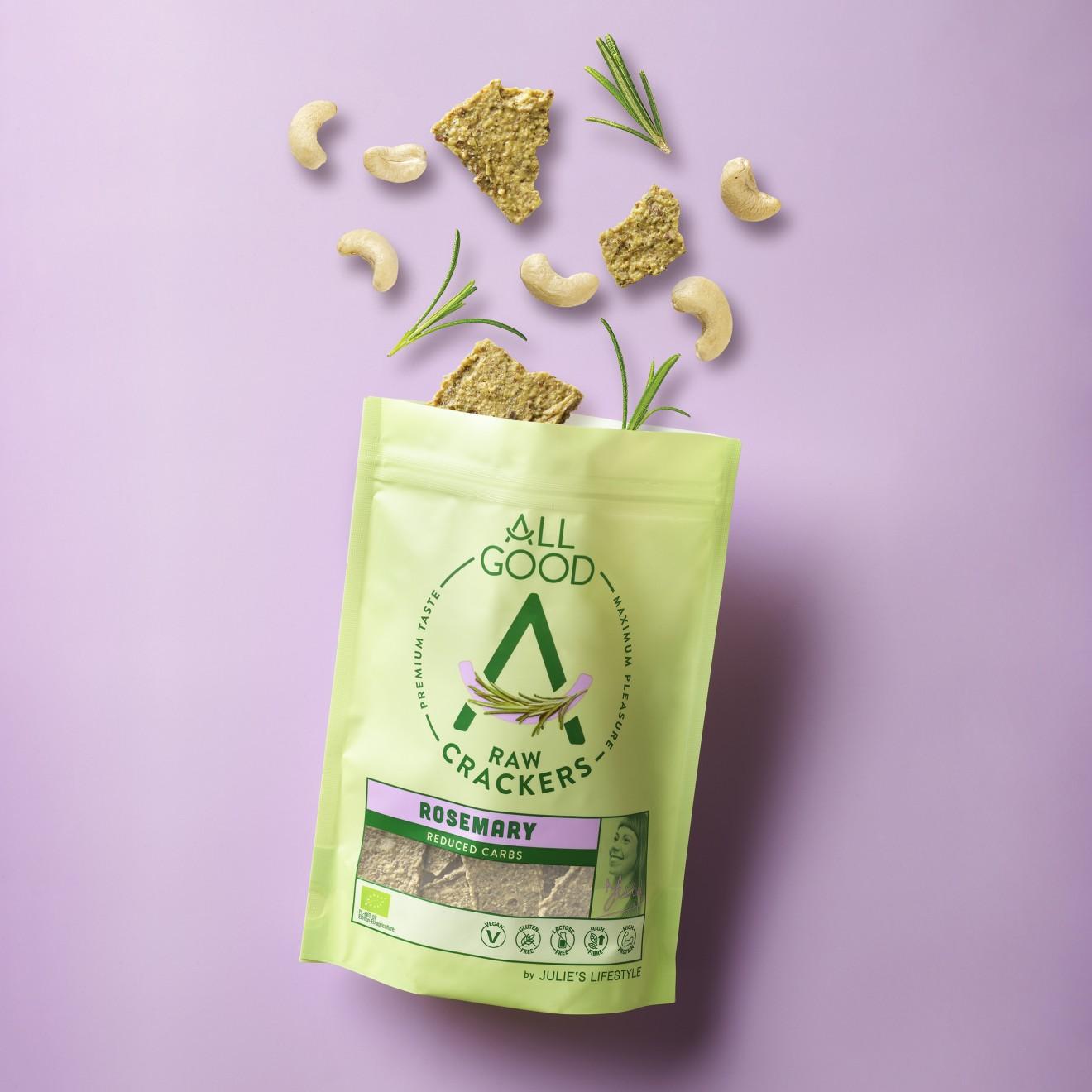 Quatre Mains package design - rosemary, crackers, peanut