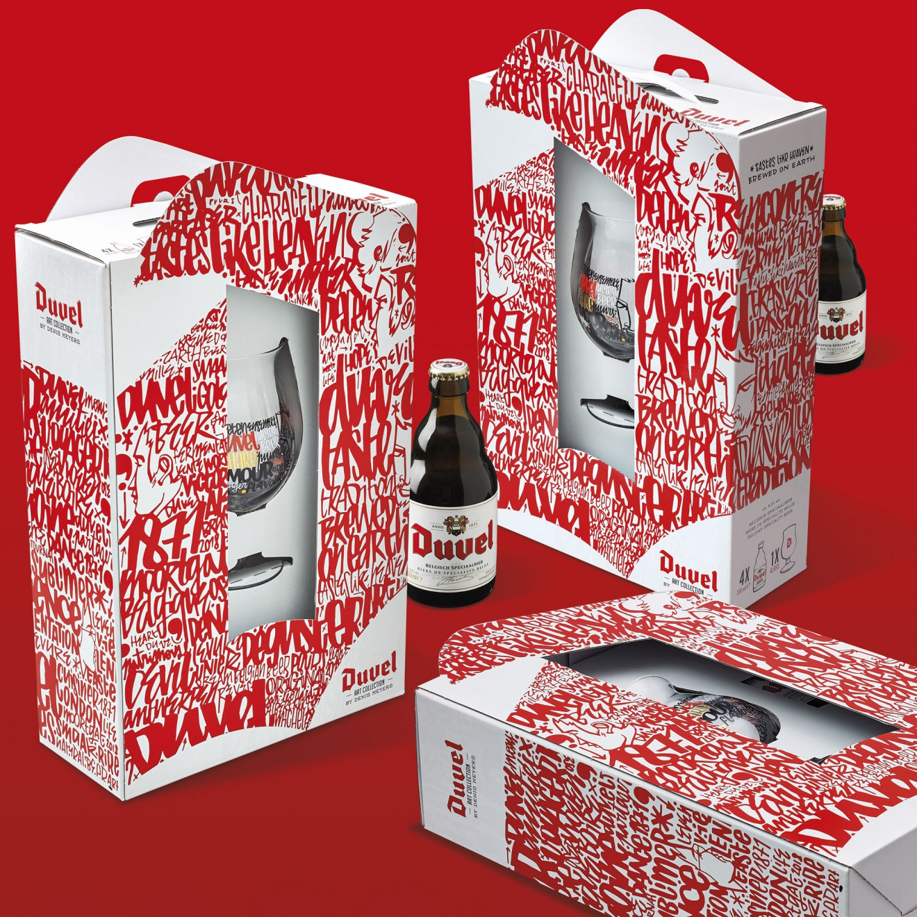 Quatre Mains package design - limited edition, duvel, bier, beer packaging, cardboard