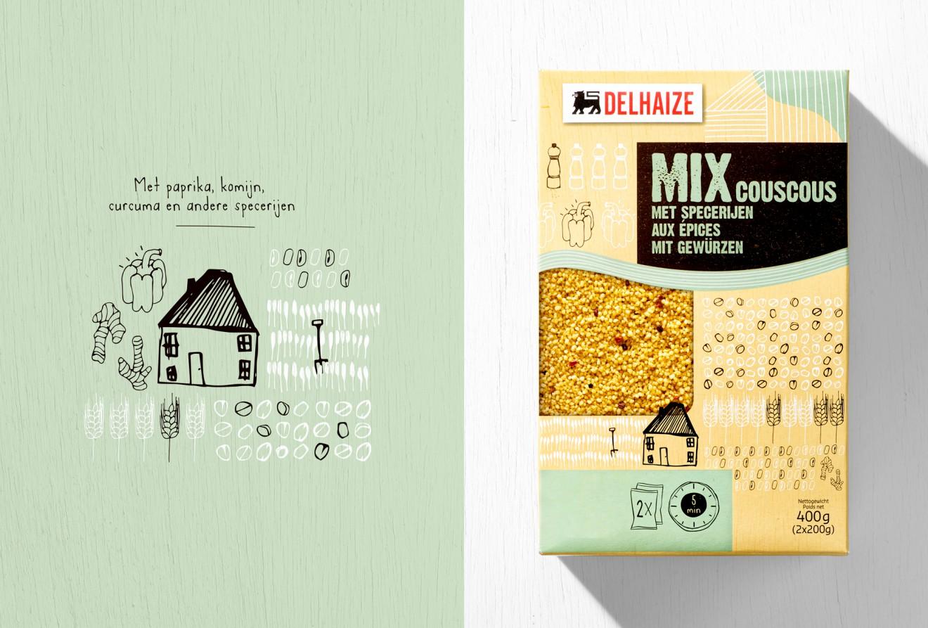 Quatre Mains package design - couscous, delhaize, specerijen, paprika, komijn