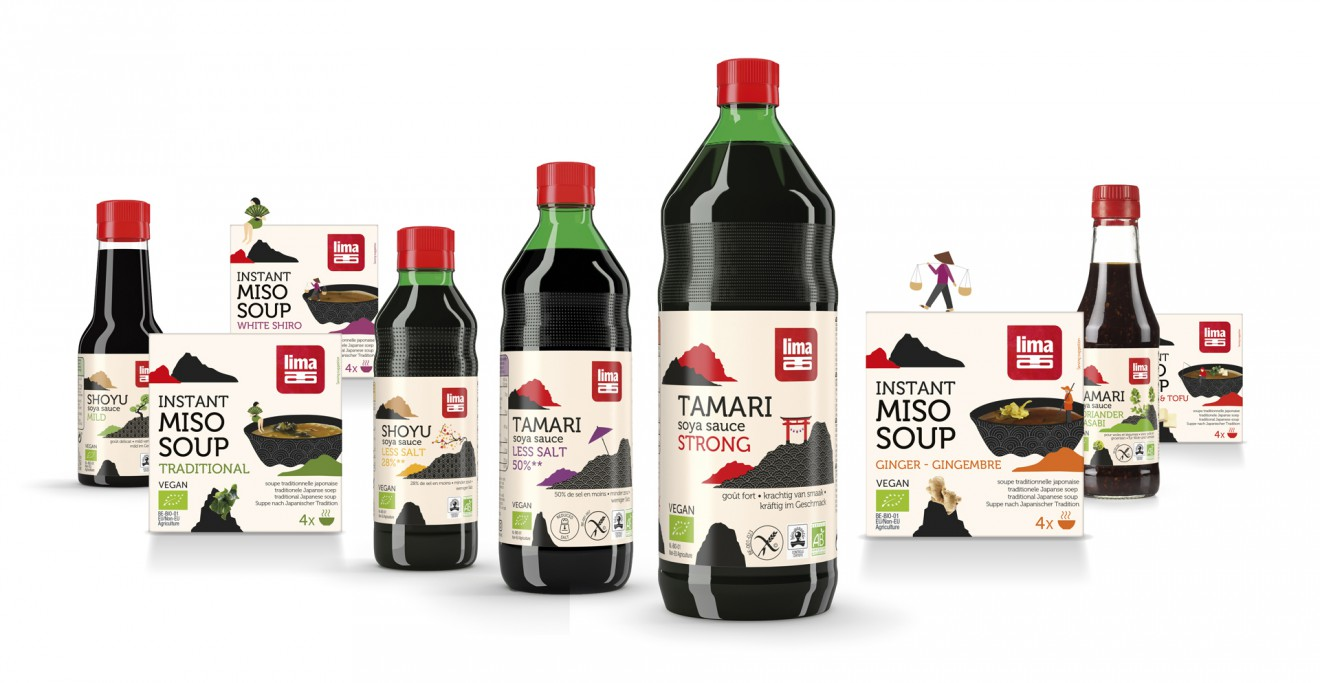 Quatre Mains package design - soya, shoyu, tamari, organic, bio, quatre mains, lima