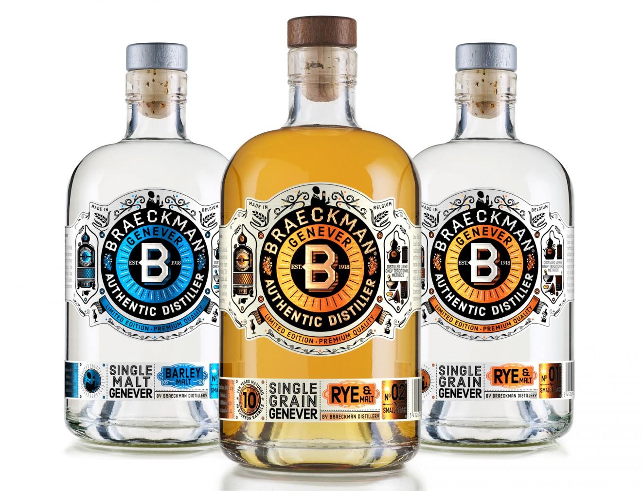 Quatre Mains package design - drinks, alcohol, bottle, genever