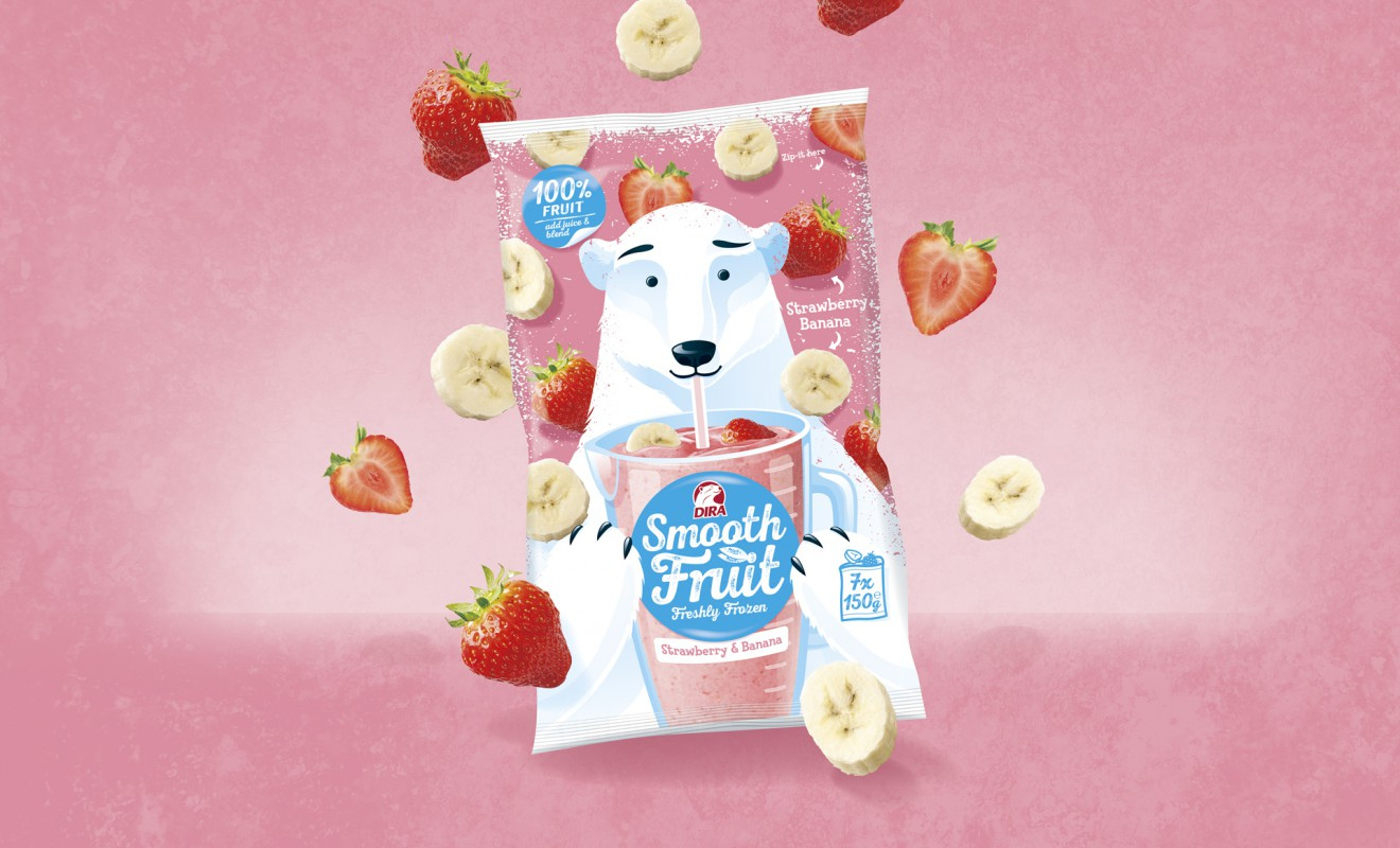 Quatre Mains package design - packaging, smoothies, polar bear