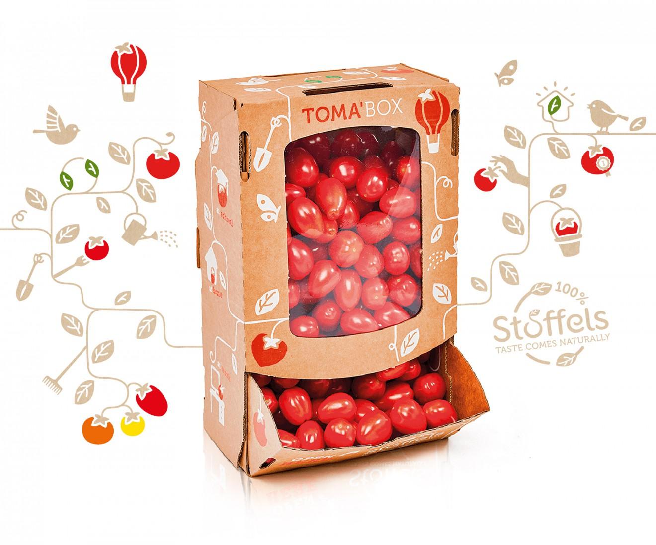 Quatre Mains package design - tomabox, kerstomaten, plantenslinger
