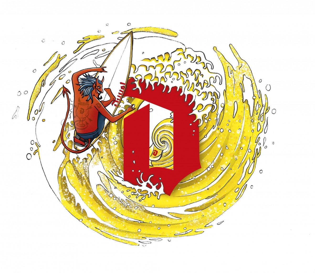 Quatre Mains package design - tornado, beer, swirl, surfer, kobe de keyzer