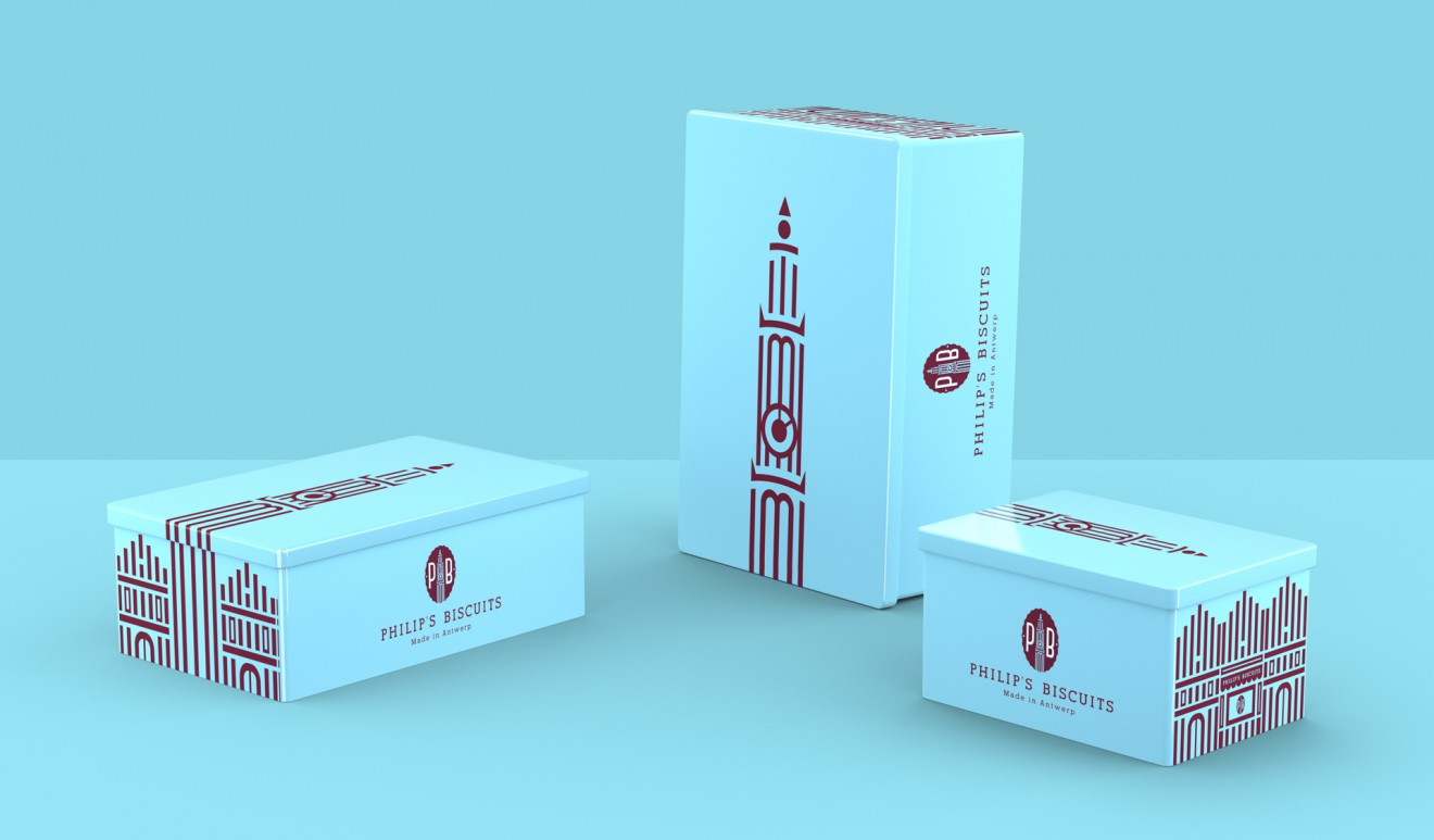 Quatre Mains package design - blikken, philips biscuits, koekenstad, o.l.v. toren