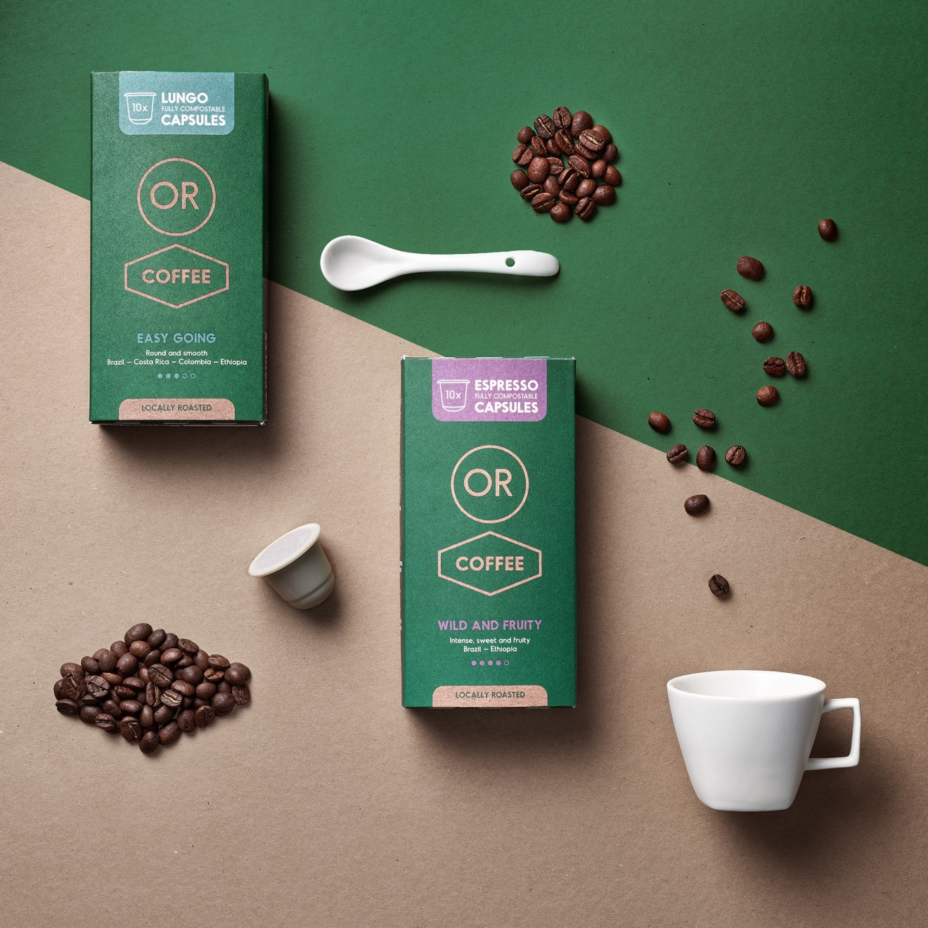 Quatre Mains package design - roasters, coffee cup