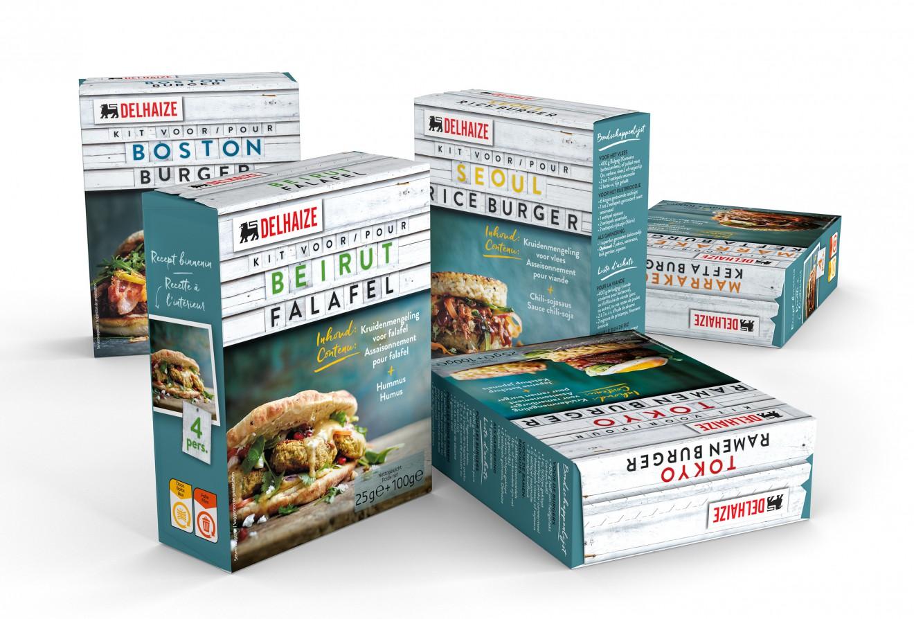Quatre Mains package design - falafel, kefta, burger