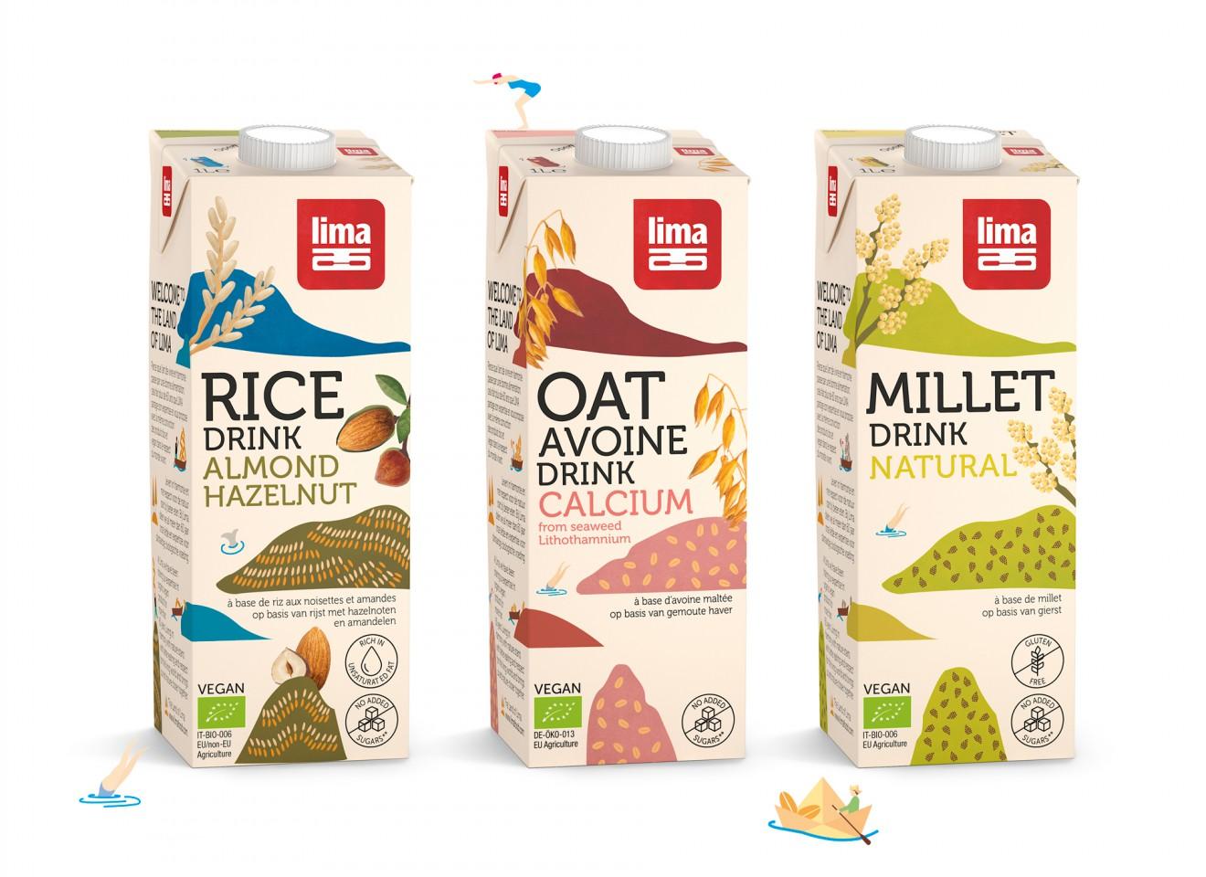 Quatre Mains package design - drinks, milk, diary, oat, millet, rice, quatre mains