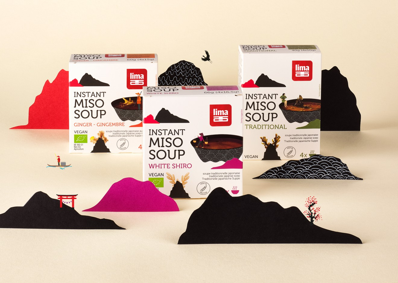 Quatre Mains package design - japanese food, miso, soup