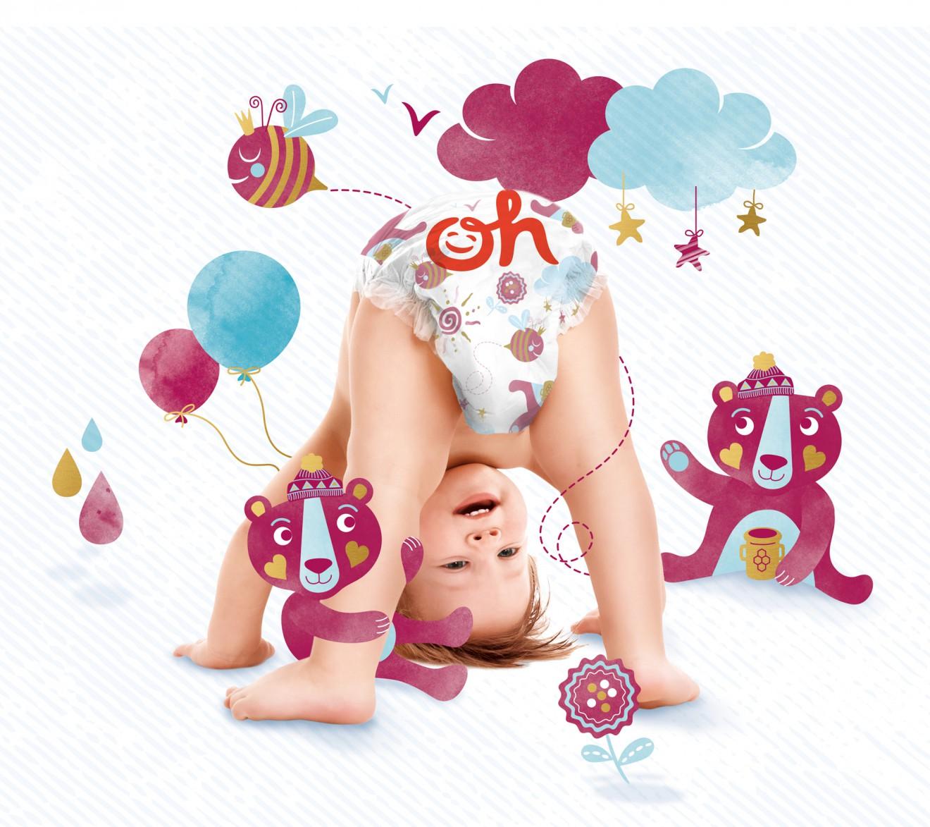 Quatre Mains package design - child, baby, diaper, illustrations, quatre mains
