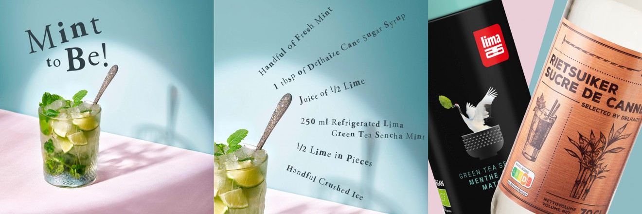 Quatre Mains package design - mint, mocktail, ice tea, lime, sencha, lima