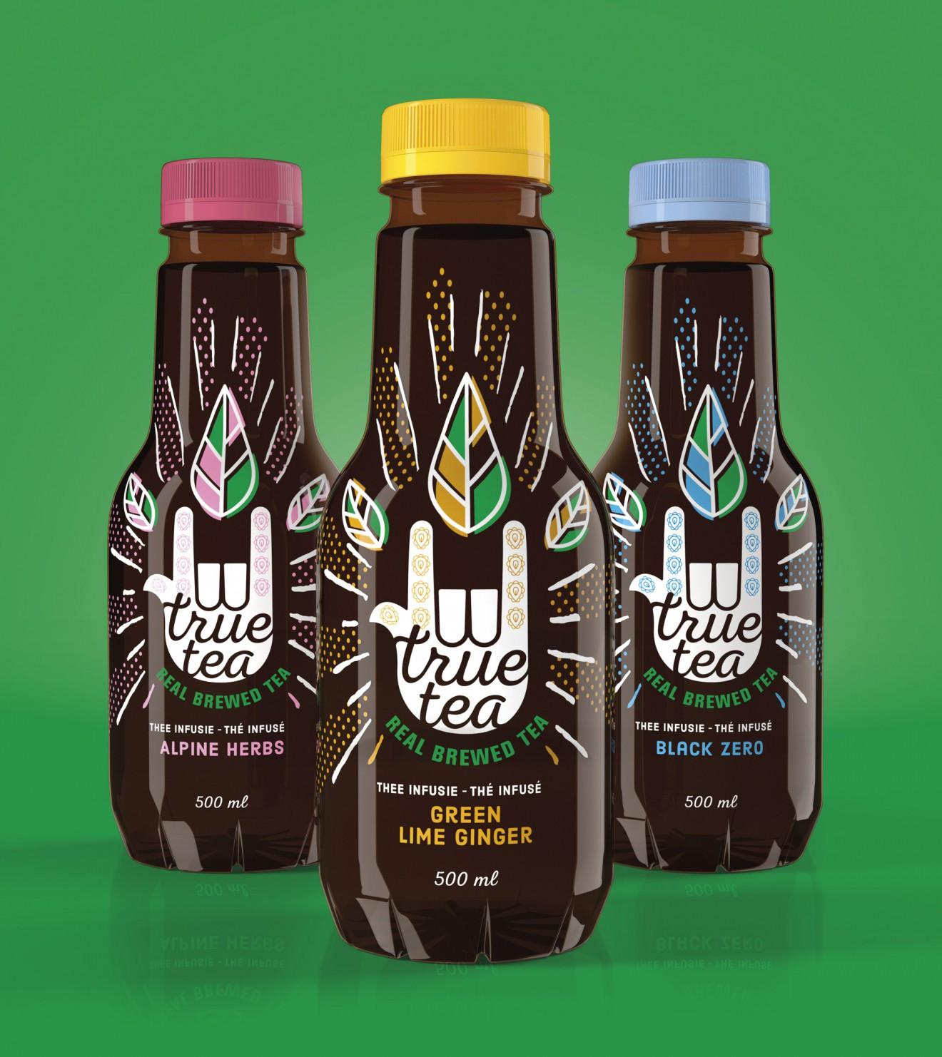 Quatre Mains package design - true tea, ice tea, delhaize, packaging design