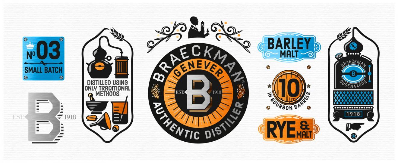 Quatre Mains package design - illustrations, distillery, braeckman