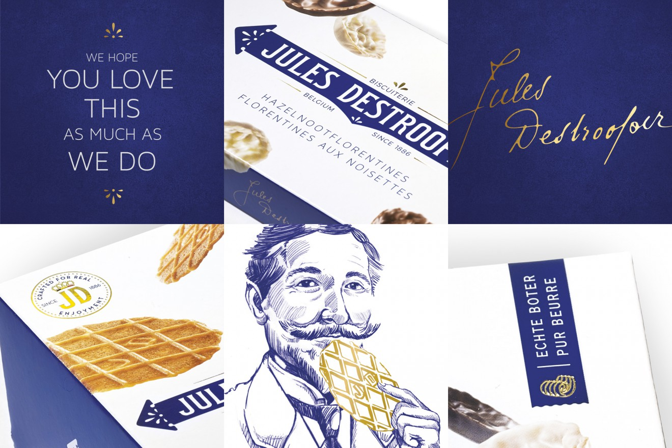 Quatre Mains package design - jules destrooper, lukke, wafel, boter