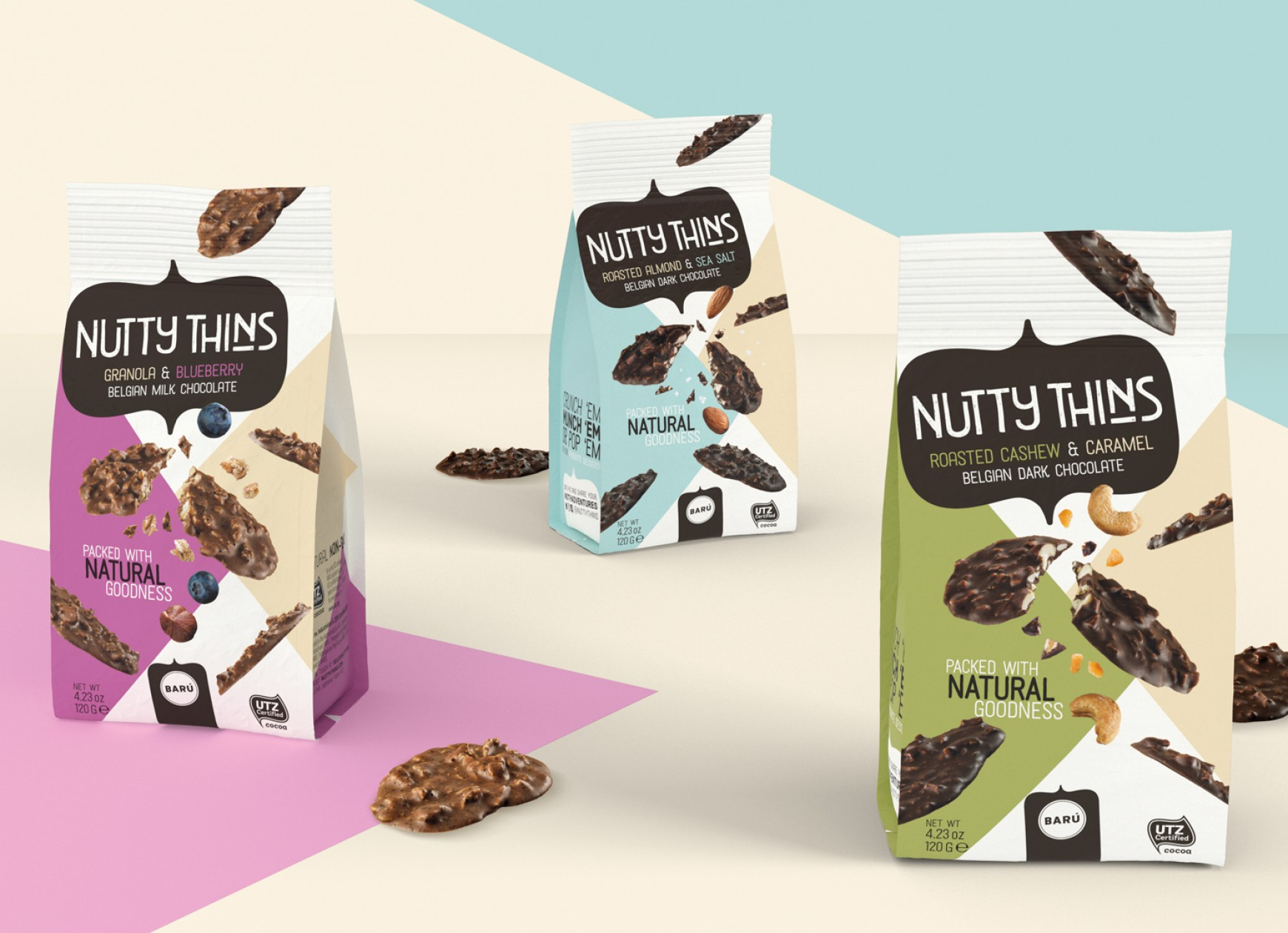 Quatre Mains package design - Nutty Thins, baru, chocolade, restyling