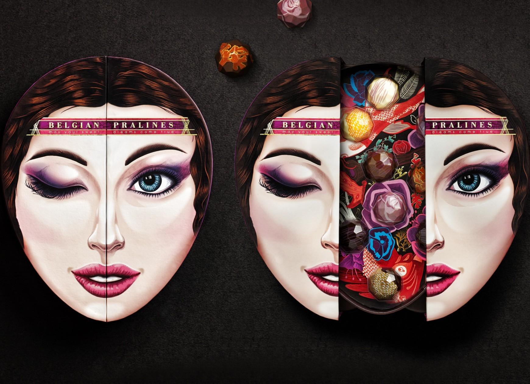Quatre Mains package design - Package design natra, pralines, belgian chocolate