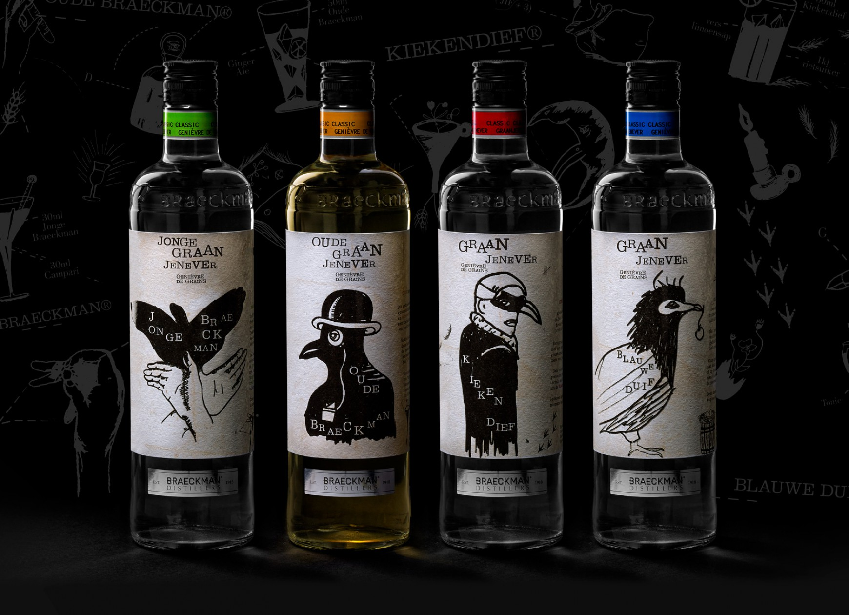 Quatre Mains package design - braeckman, genever, quatre mains