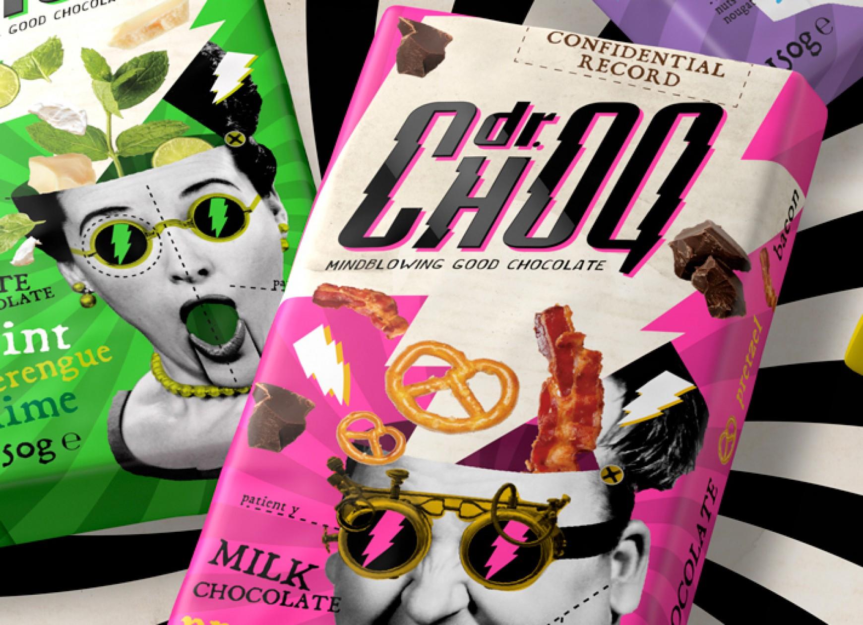 Quatre Mains package design - dr.choq, chocolate, bars, quatre mains