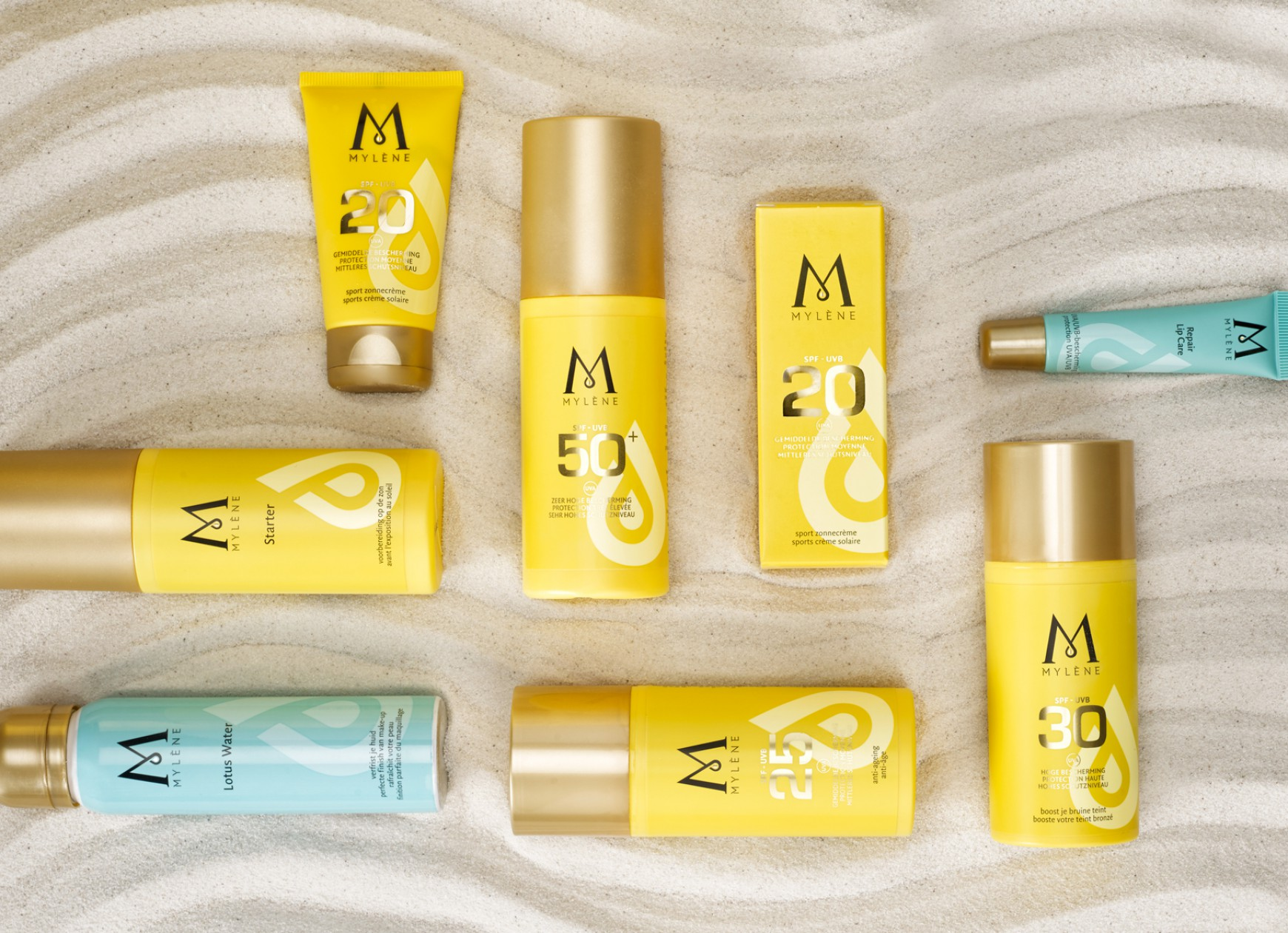 Quatre Mains package design - suncare, mylène, quatre mains