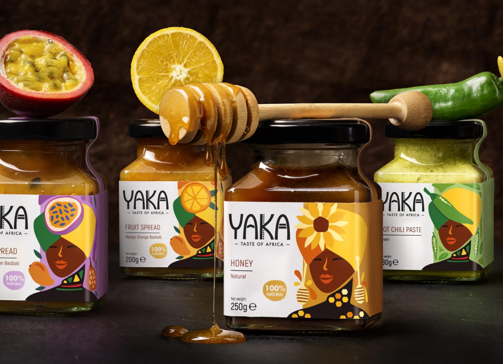 Quatre Mains package design - Yaka, jams, chili paste, quatre mains