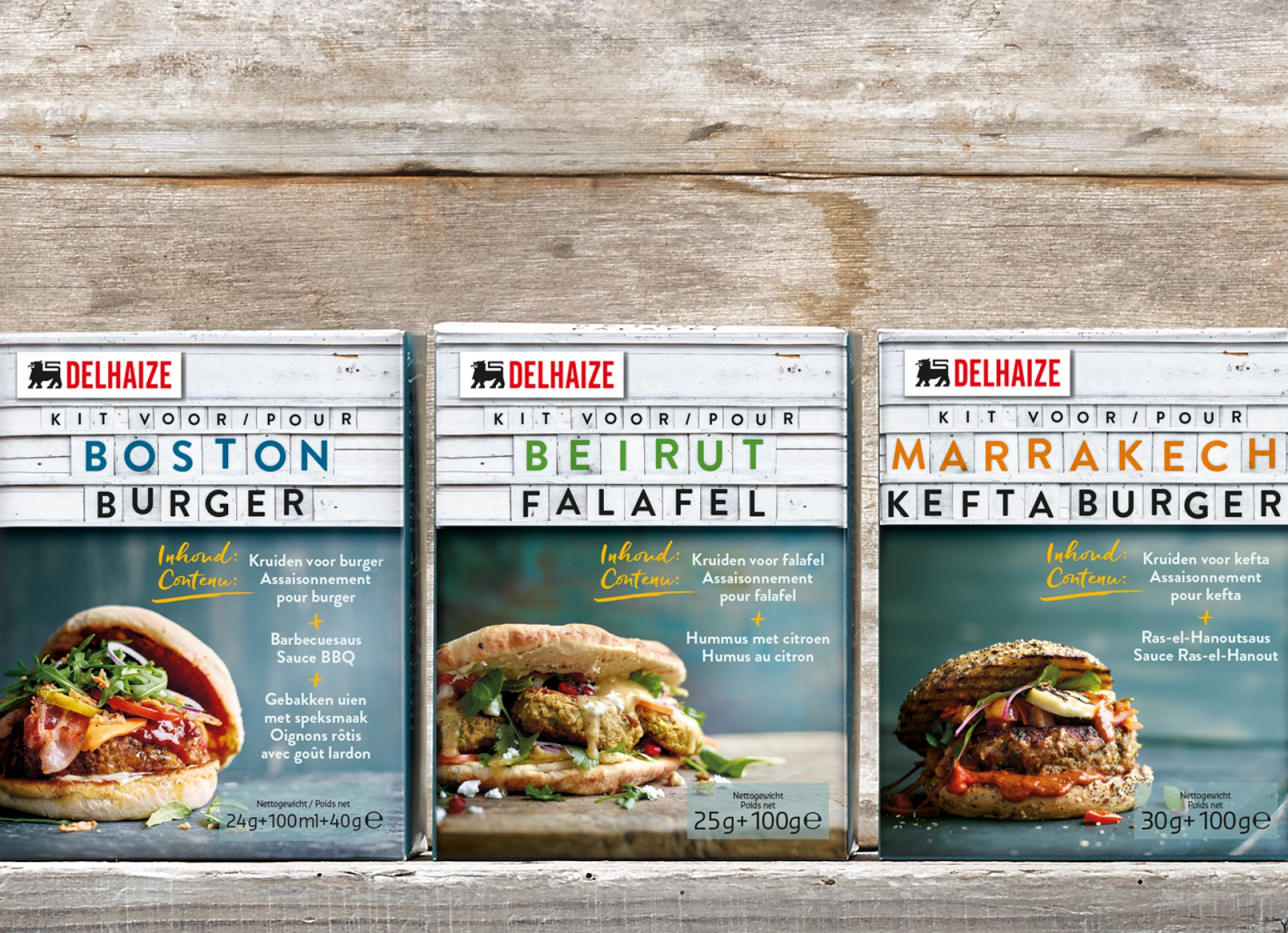 Quatre Mains package design - Package design Delhaize, Boston, burger, boston, beirut, marrakech, kefta, falafel, Quatre Mains, Branding, Packaging