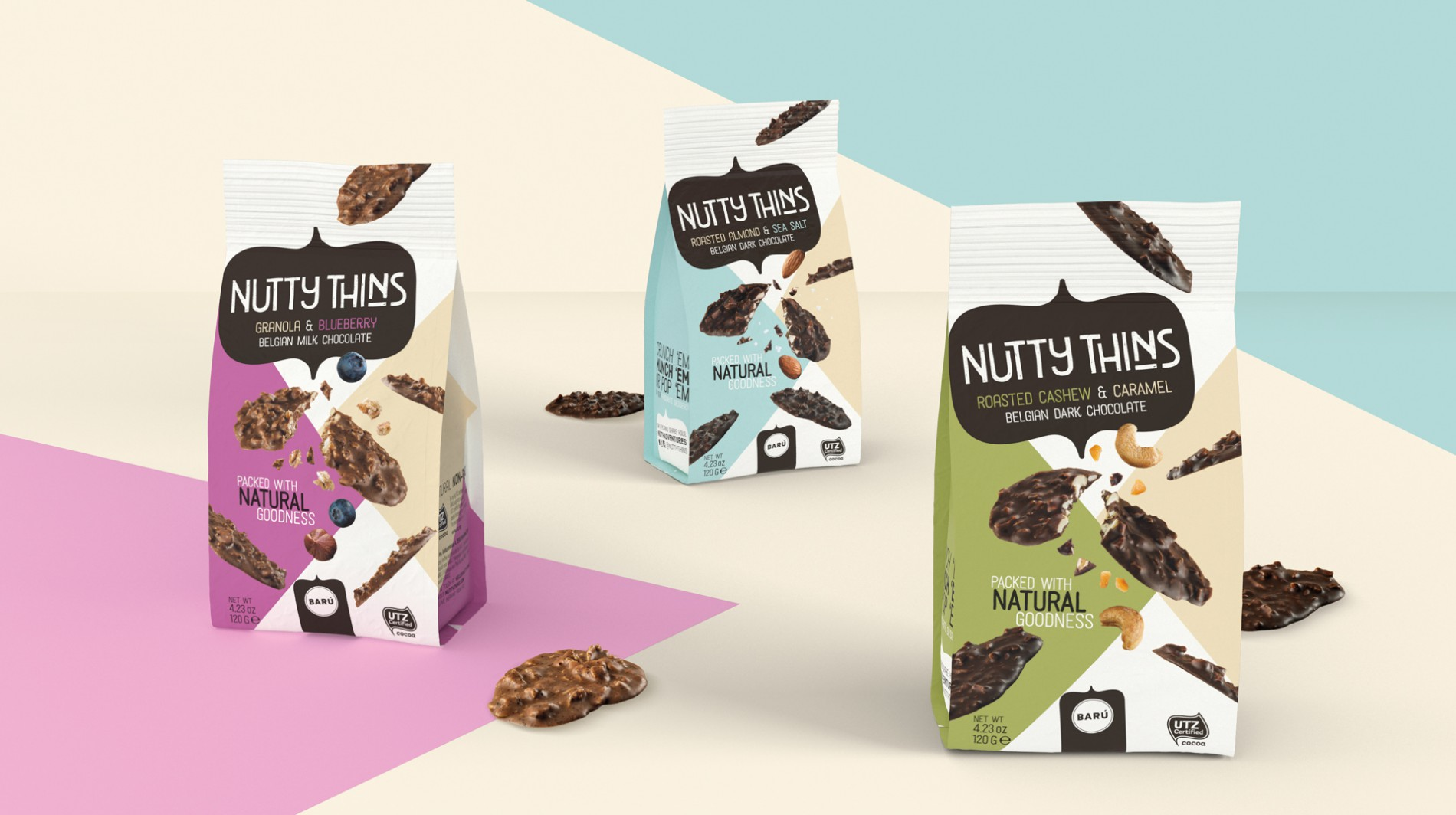 Quatre Mains package design - Package design Nutty Thins, baru, chocolade, restyling