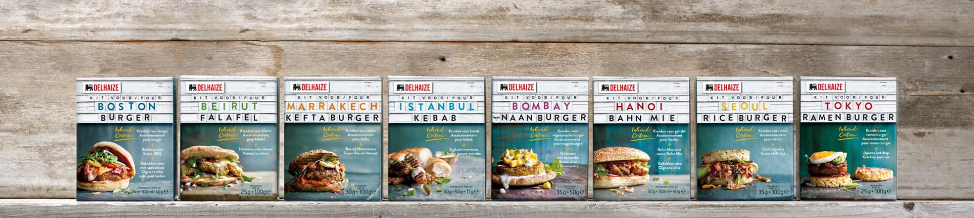 Quatre Mains package design - Package design gourmet burger, delhaize, quatre mains