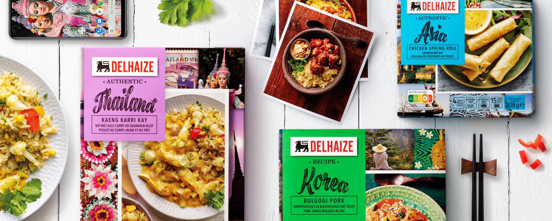 Quatre Mains package design - Package design Food of the World, delhaize, quatre mains