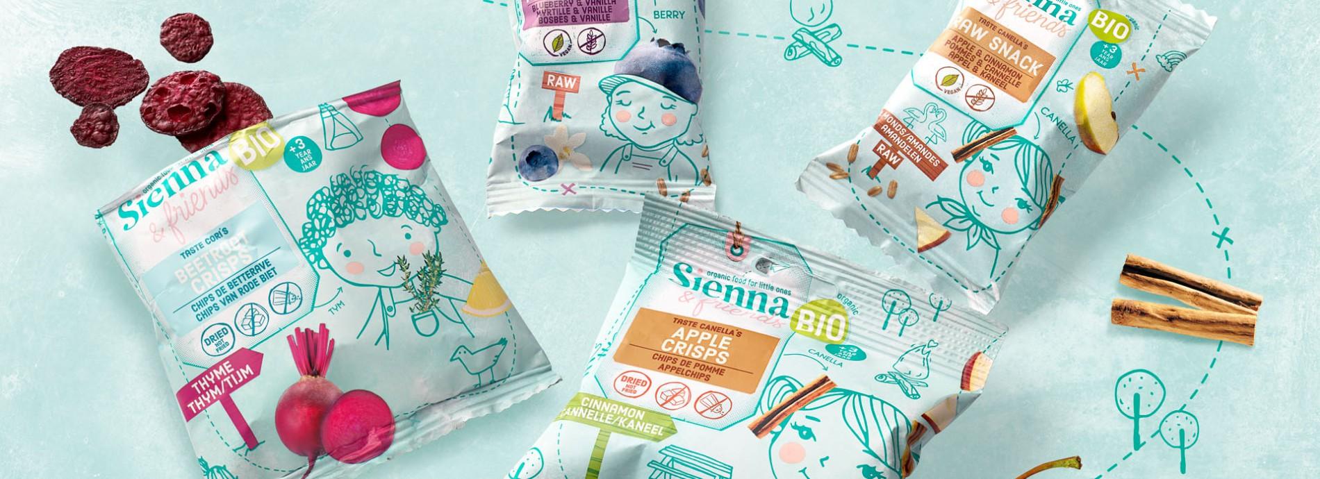 Quatre Mains package design - Package design sienna&friends, babyfood, quatremains, packaging