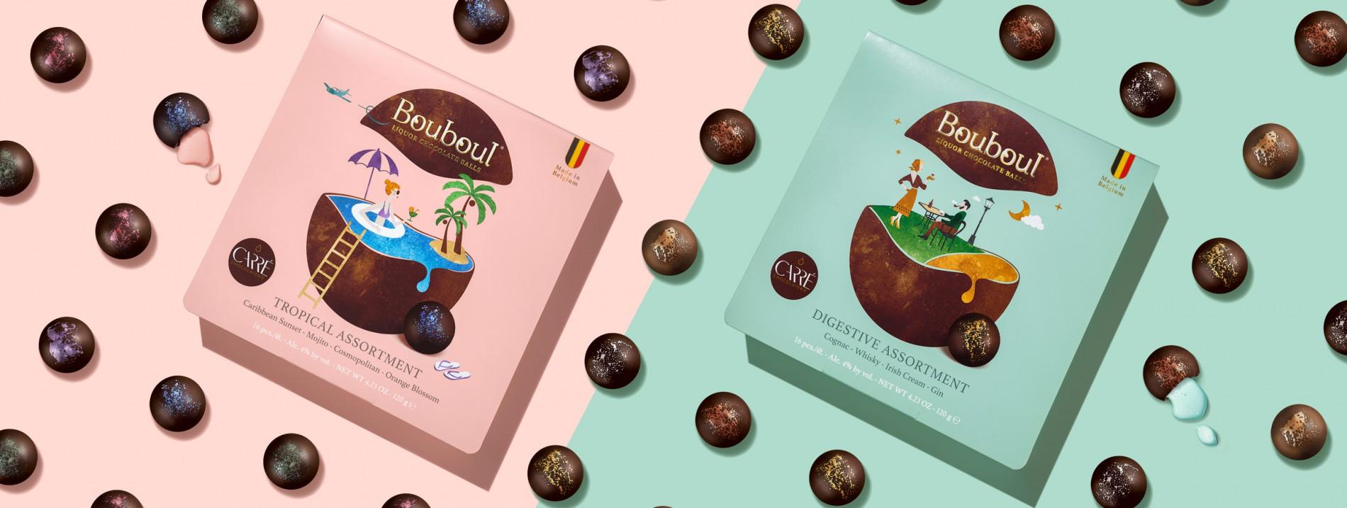 Quatre Mains package design - Package design liquor, pralines, bouboul, chocolate carré