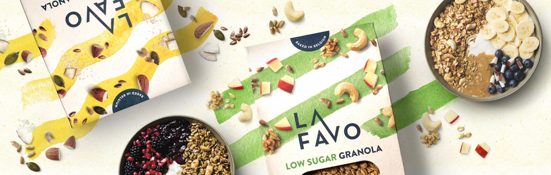 Quatre Mains package design - Package design low sugar, granola, la favo