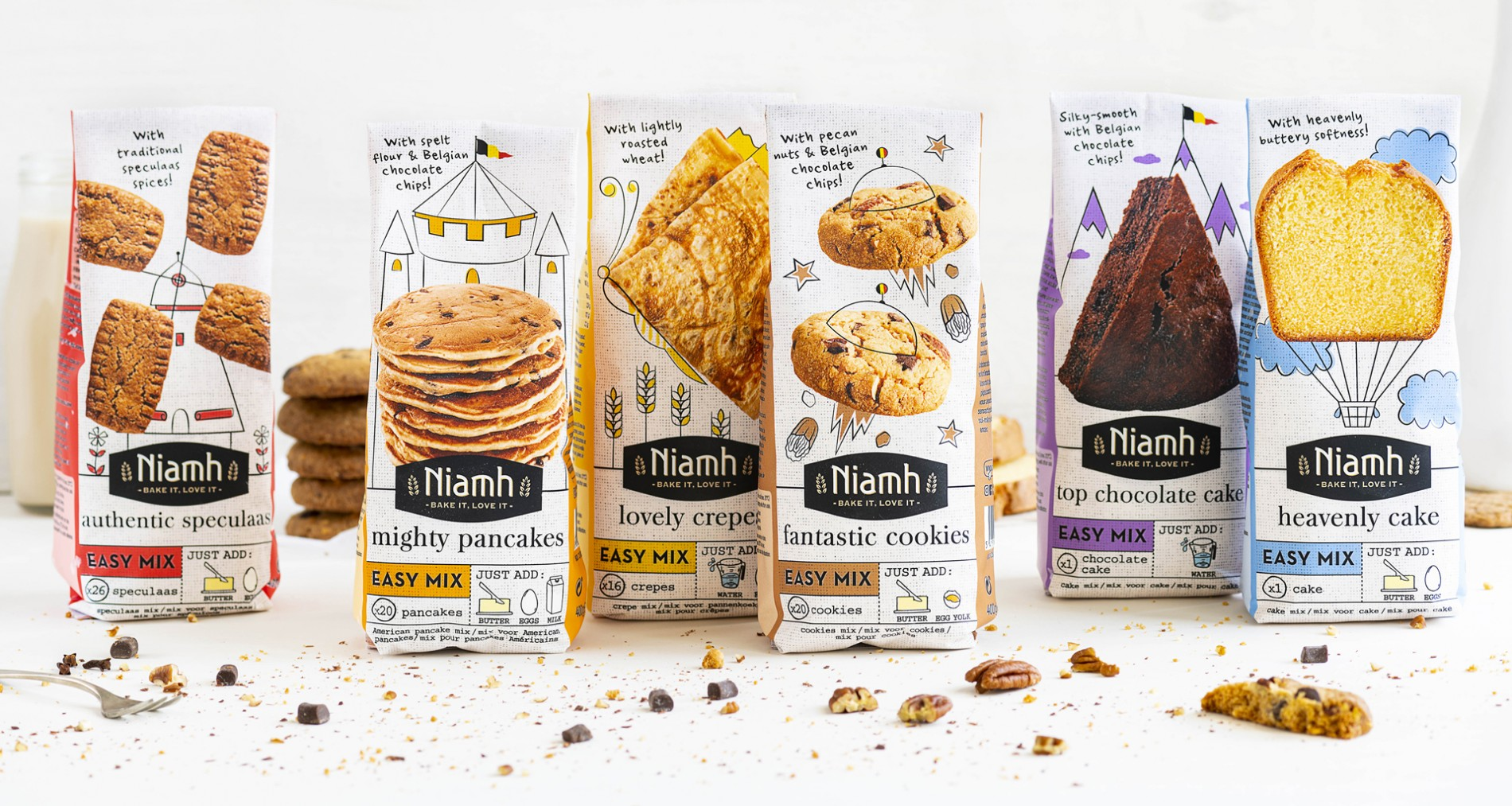 Quatre Mains package design - Package design sweet range, baking, niamh, quatre mains