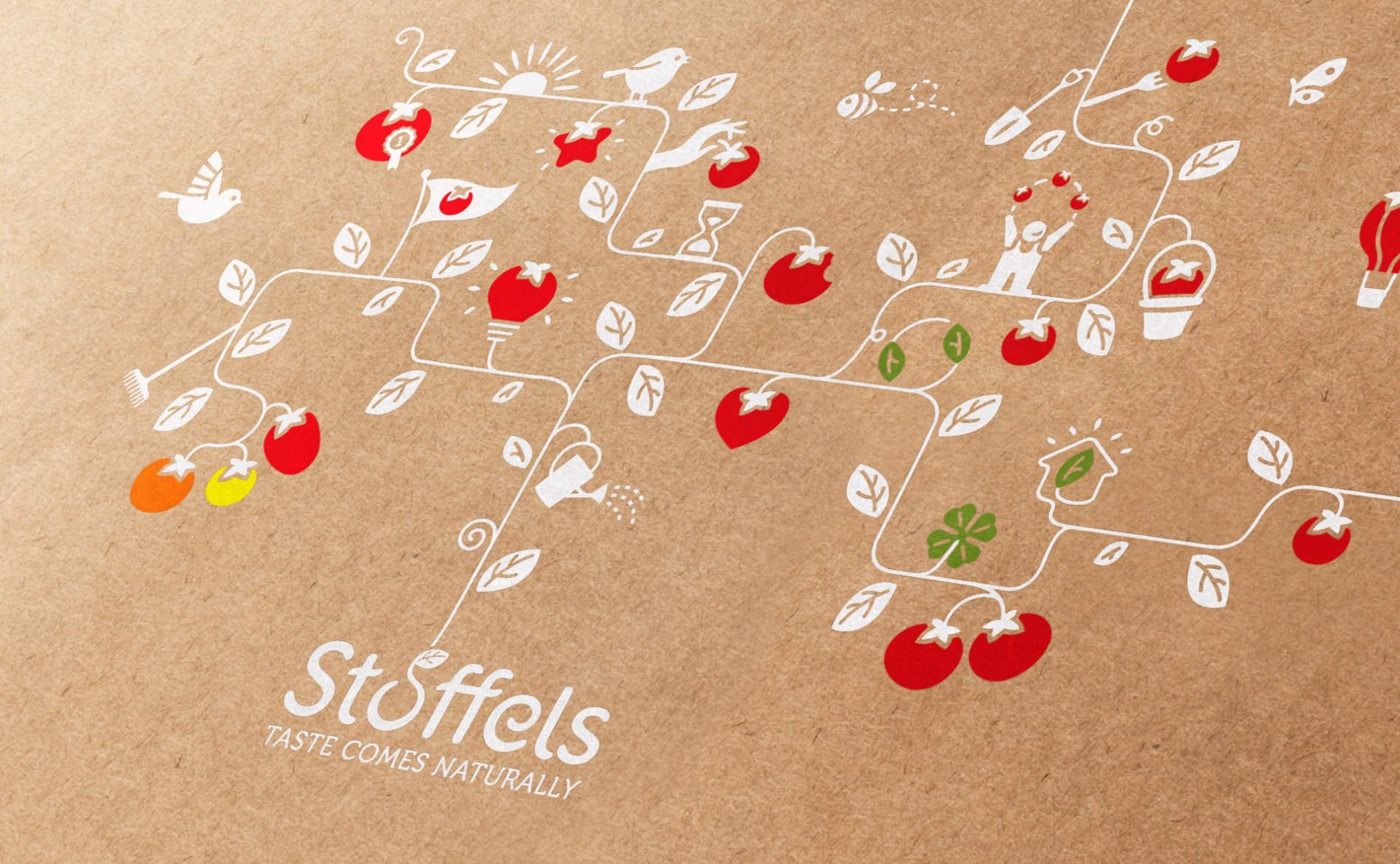 Quatre Mains package design - Package design stoffels, rebranding, tomatoes