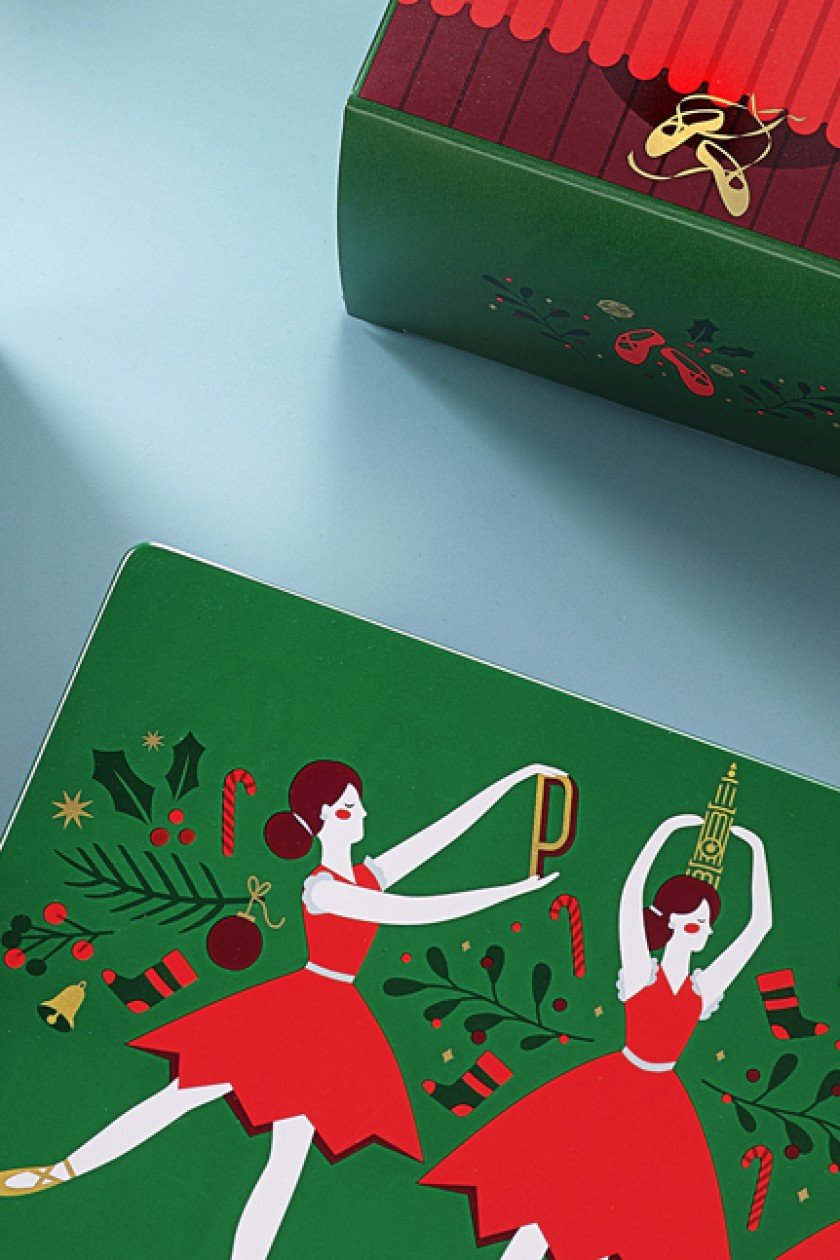 Quatre Mains package design - philips biscuits, nutcracker, end of year