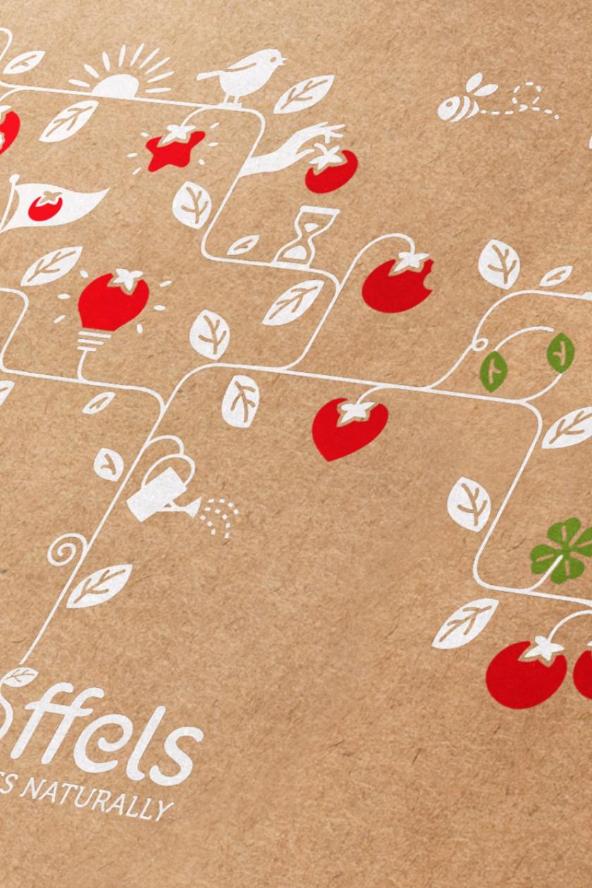 Quatre Mains package design - stoffels, rebranding, tomatoes