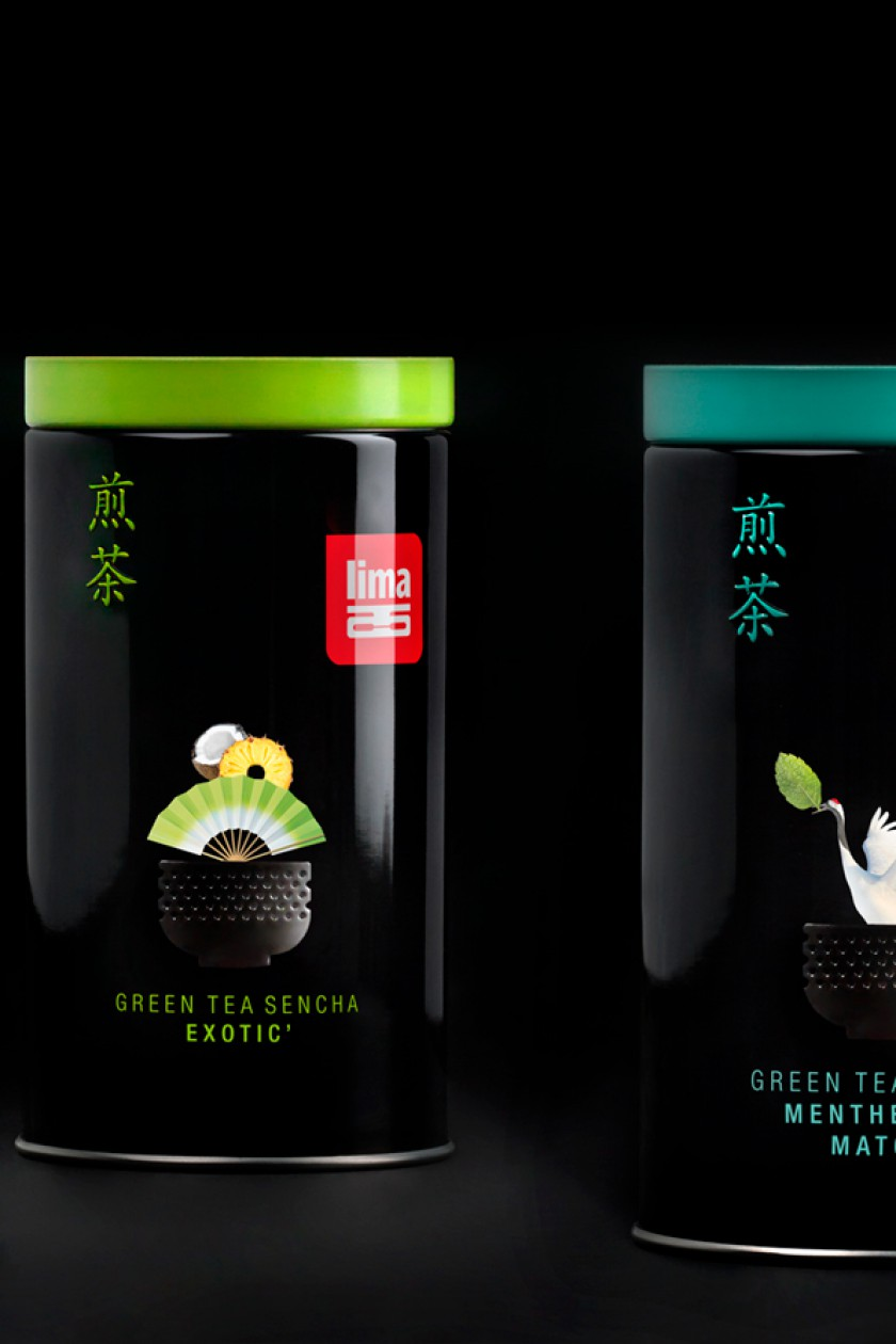 Quatre Mains package design - ginger, kardemom, sencha, japanese tea