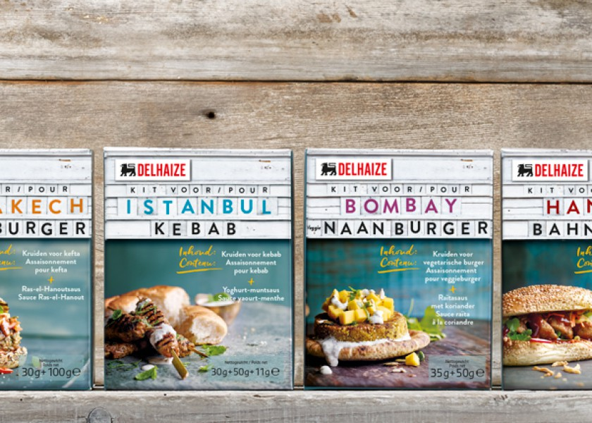 Quatre Mains package design - Package design gourmet burger, delhaize, quatre mains