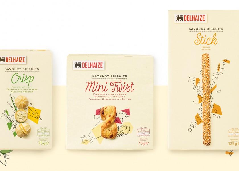 Quatre Mains package design - Package design hartige koekjes, delhaize, quatre mains