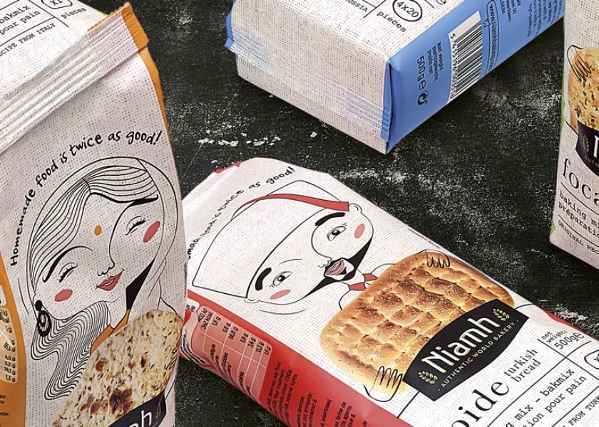 Quatre Mains package design - Package design Niamh, broodmixen, aveve, blini, quatre mains