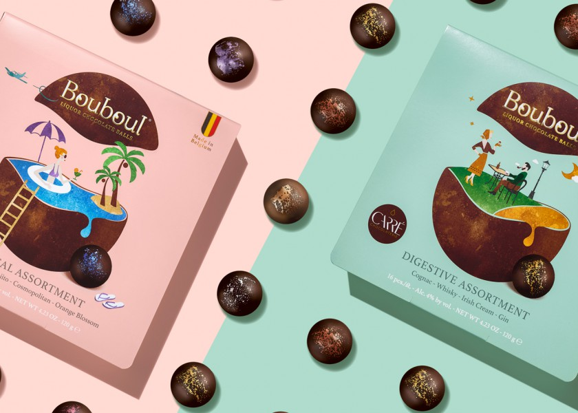 Quatre Mains package design - Package design liquor, pralines, bouboul, chocolate carré