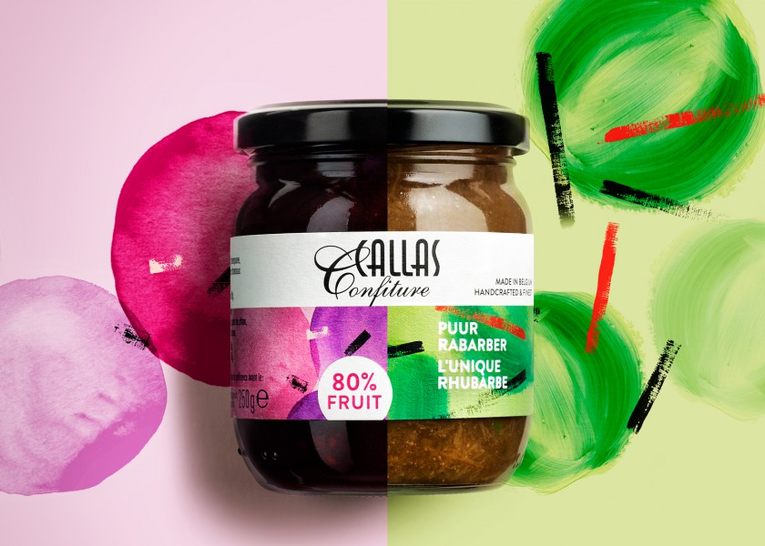 Quatre Mains package design - Package design Packaging, Callas, Confiture, Rabarber Bosvruchten, Puur
