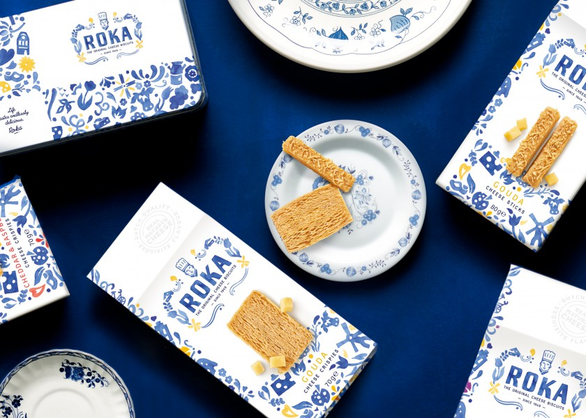 Quatre Mains package design - Package design delfts blauw, roka, biscuits