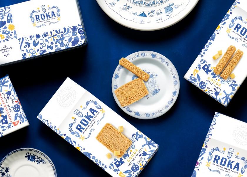 Quatre Mains package design - Package design delfts blauw, roka, biscuits