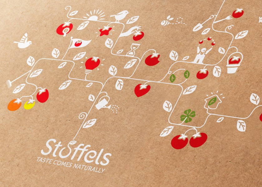 Quatre Mains package design - Package design stoffels, rebranding, tomatoes