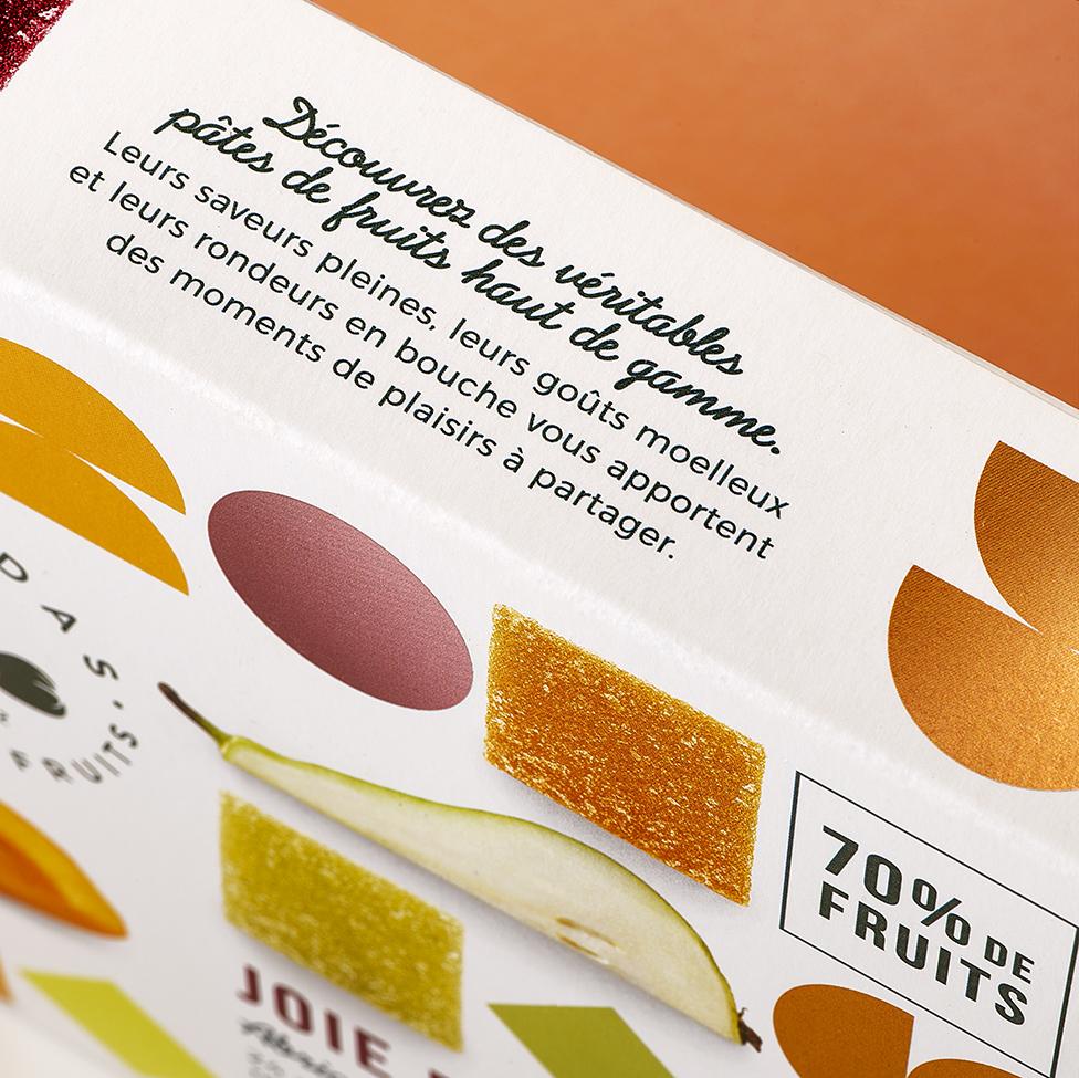 Quatre Mains package design - packaging, print, 70% fruits, pear